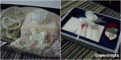 Satu kotak isinya Al-Qur'an, tasbih, dan mukena. Yang satunya isi mahar uang dan cincin sepasang.