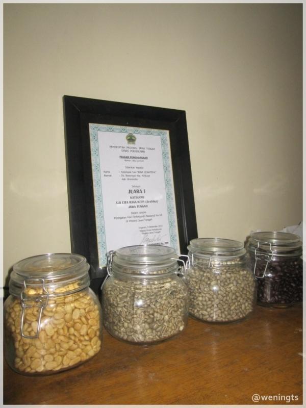 Salah satu penghargaan Bowongso Coffee di tingkat Provinsi